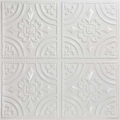 Wrought Iron 2 ft. x 2 ft. PVC Glue-up Ceiling Panel in White Pearl (100 sq. ft. / case)