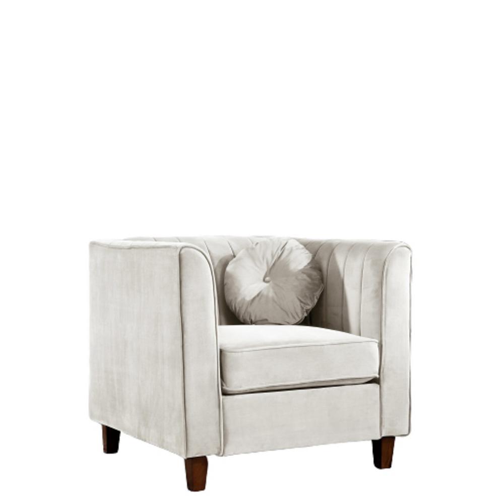 Lowery velvet Kitts Classic Beige Chesterfield Chair