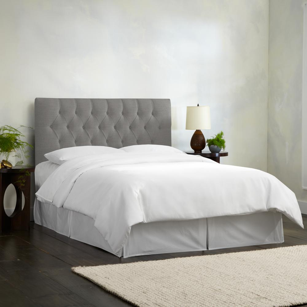 Linen Grey King Diamond Tufted Headboard