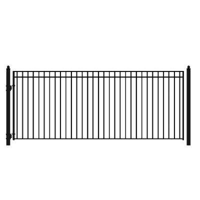 Madrid Style 16 ft. x 6 ft. Black Steel Single Swing Driveway Fence Gate