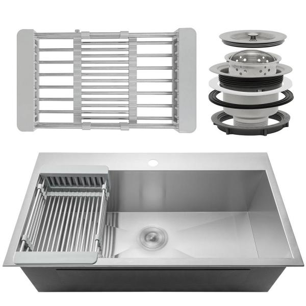 Akdy Handmade Drop In Stainless Steel 30 In X 18 In Single Bowl Kitchen Sink With Drying Rack Ks0098 The Home Depot