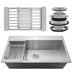 AKDY Handcrafted All-in-One Drop-In Stainless Steel 30 inch x 18 inch x 9 inch Single Bowl Kitchen Sink with Tray and... by AKDY