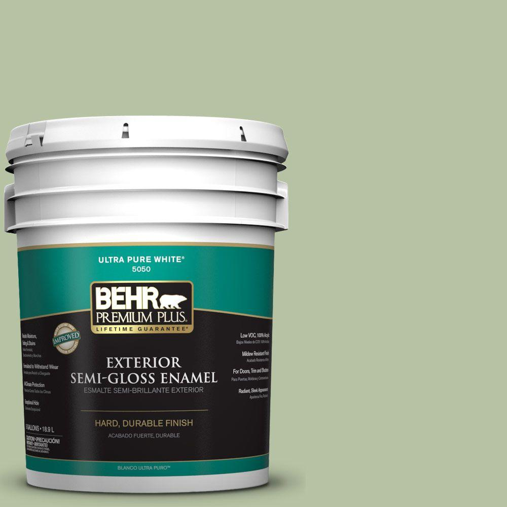 BEHR Premium Plus 5-gal. #M380-4 Chopped Dill Semi-Gloss Enamel Exterior Paint