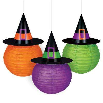 9.5 in. Paper Witch Hat Lanterns (3-Count)