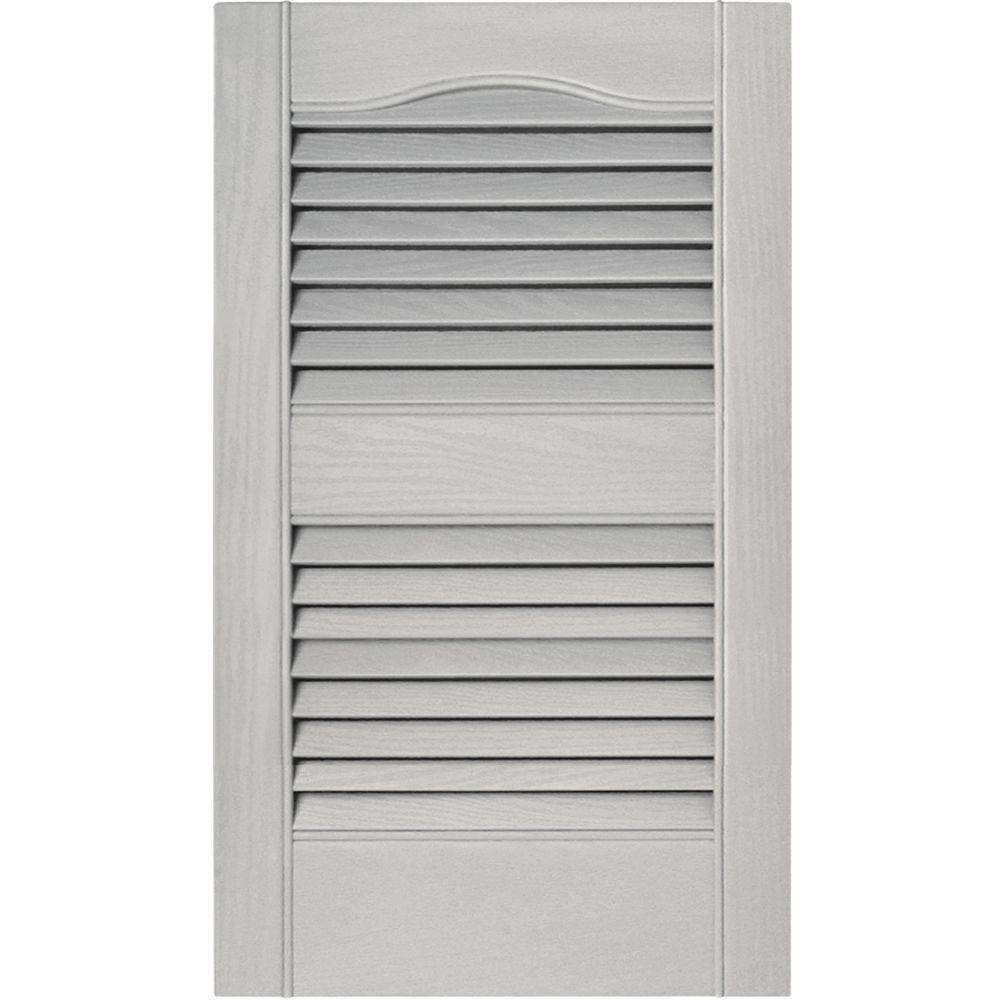 Builders Edge 15 in. x 25 in. Louvered Vinyl Exterior Shutters Pair in #030 Paintable