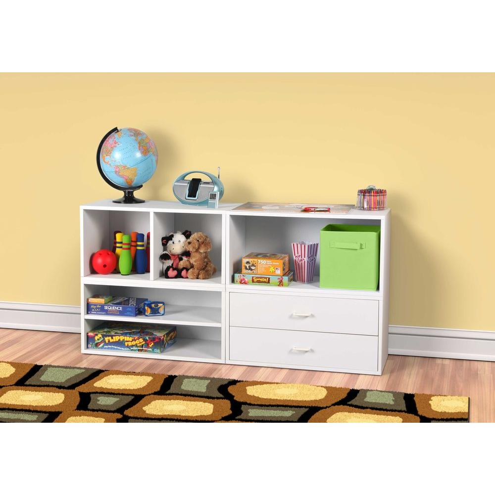 30 in. White 2-Drawer Large Cube