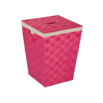 Woven Hamper with Liner in Pink