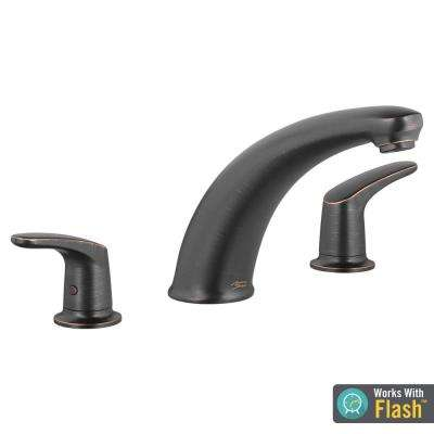 Colony PRO 2-Handle Deck-Mount Roman Tub Faucet for Flash Rough-in Valves in Legacy Bronze