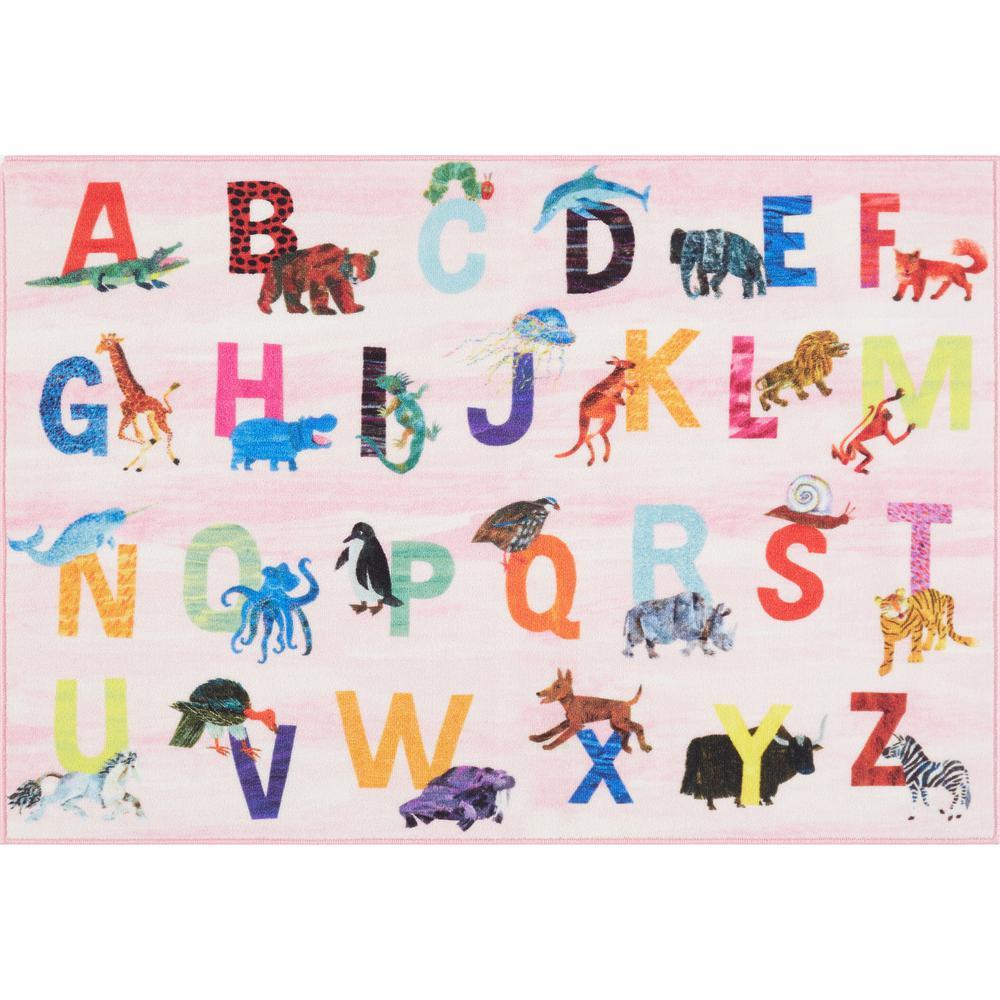 Elementary Zoo Alphabet Pink 4 ft. 11 in. x 6 ft. 6 in. Indoor Area Rug