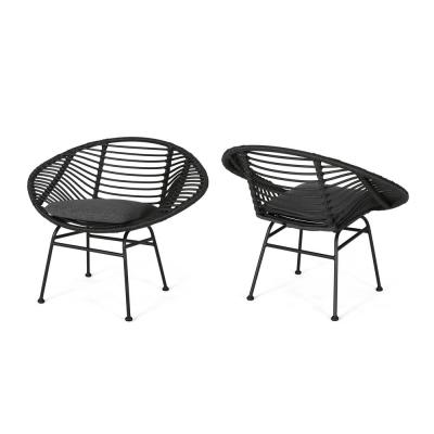 Lufbery Grey and Dark Grey Rattan Woven Chairs (Set of 2)