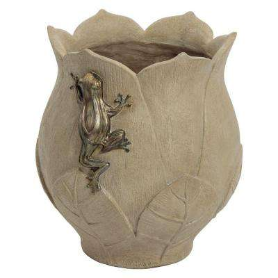 Pali Lotus 13.88 in. W x 15.25 in. H Resin Planter