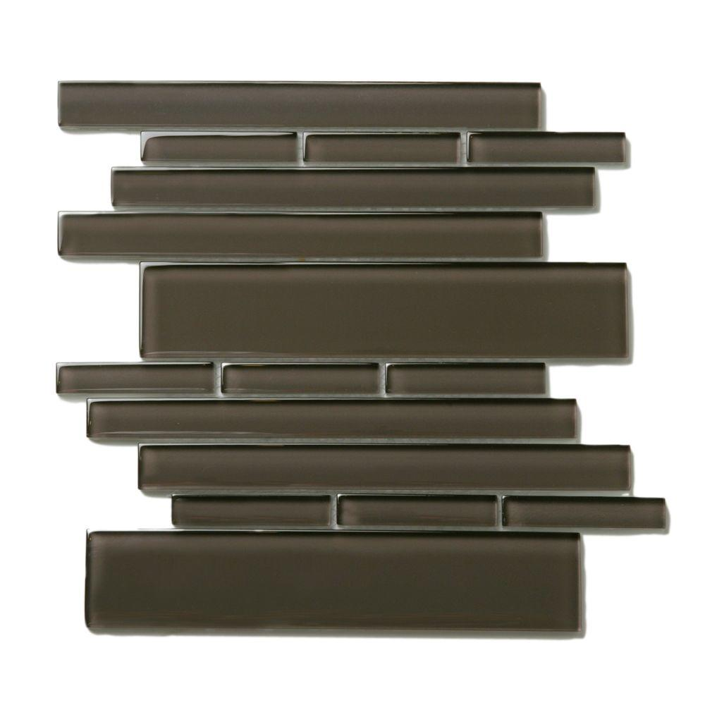 Solistone Piano Glass Rhythm 10-1/2 in. x 9-1/2 in. Brown Mesh-Mounted Mosaic Wall Tile (6.92 sq. ft. /case)