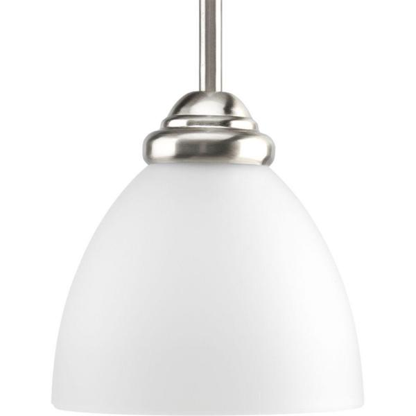 Heart Collection 1-Light Brushed Nickel Mini Pendant with Etched Glass