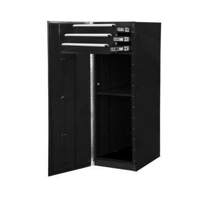 16 in. 3-Drawer 1-Shelf Standard Side Chest in Black