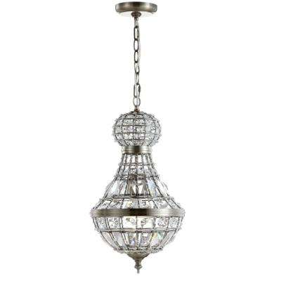 Regina 12 in. 1-Light Antique Brass Crystal/Metal Empire LED Chandelier
