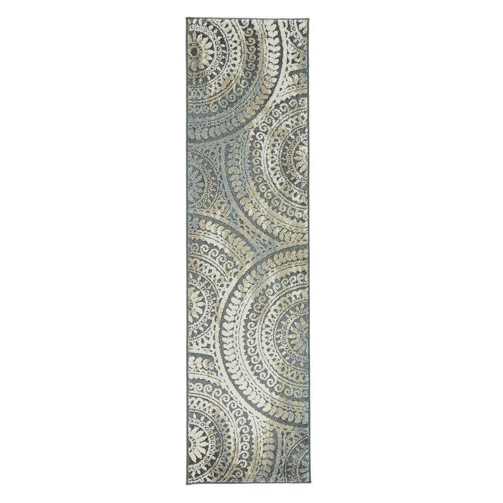 Spiral Medallion Grey 2 ft. x 7 ft. Runner Rug
