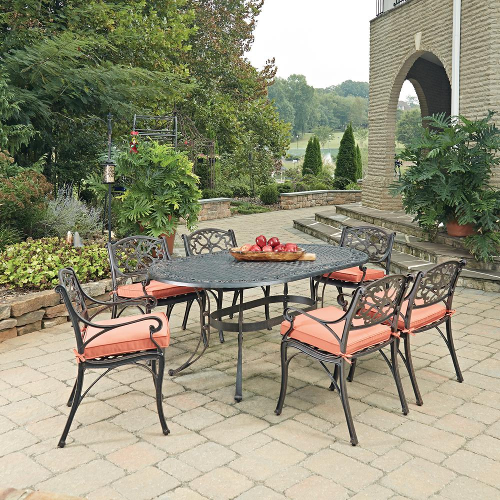 Biscayne Rust Bronze 7-Piece Cast Aluminum Outdoor Dining Set with Coral