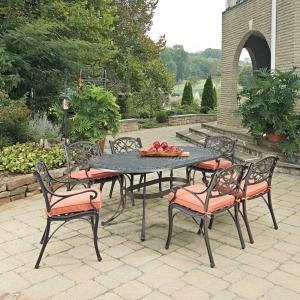Home Styles Biscayne Rust Bronze 7-Piece Cast Aluminum Outdoor Dining Set with Coral... by Home Styles
