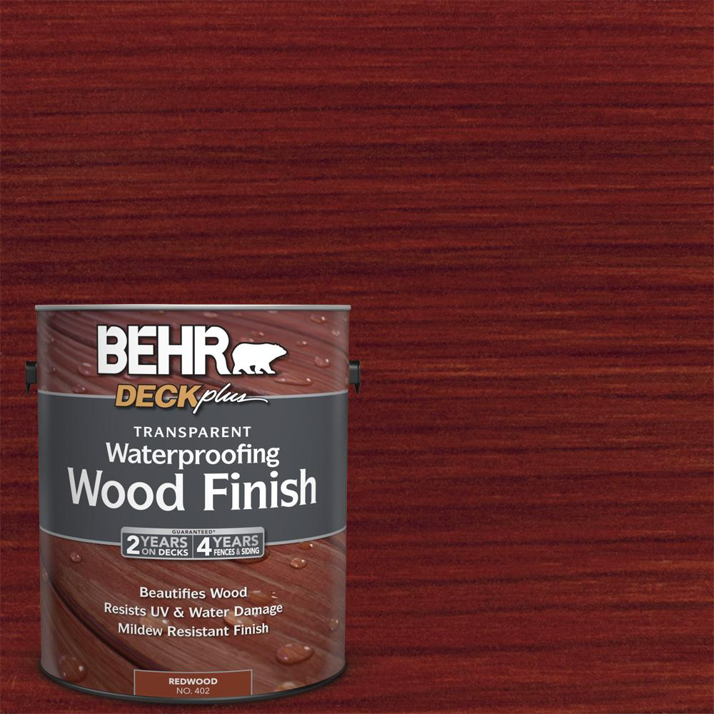 Behr Deckplus 1 Gal Redwood Transparent Waterproofing Exterior Wood Finish 40201 The Home Depot