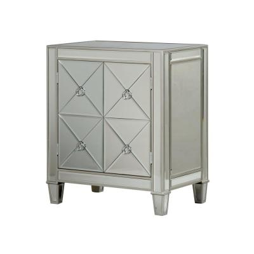 Antique Silver Trim 2-Door Beveled Mirror Cabinet