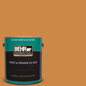 Behr Premium Plus 1 Gal M240 7 Golden Pumpkin Semi Gloss Enamel Exterior Paint And Primer In One 534001 The Home Depot