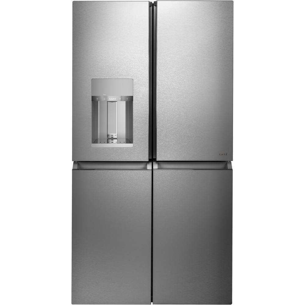 27.4 cu. ft. Smart 4-Door Quad French Door Refrigerator in Platinum Glass, ENERGY STAR