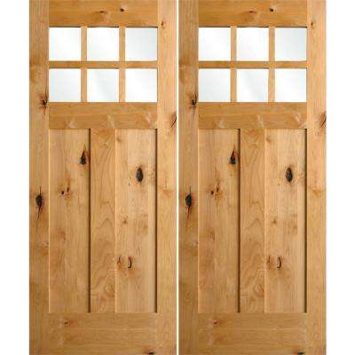 72 in. x 80 in. Craftsman Knotty Alder 6-Lite Clear Glass clear stain Wood Right Active Double Prehung Front Door