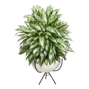 4ft. Silver Queen Artificial Plant in White Planter with Metal Stand