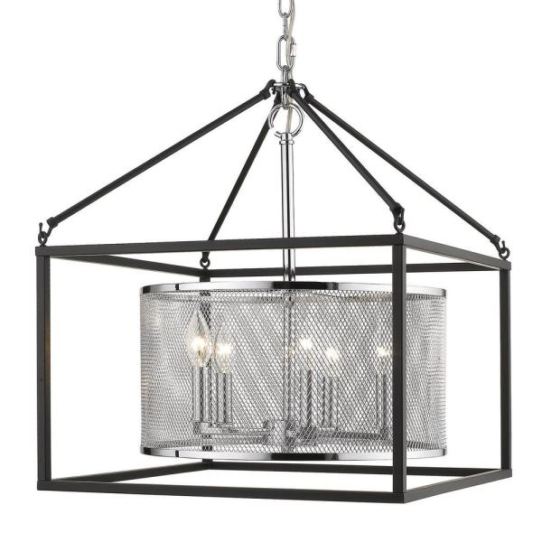 London 5 Light Pendant (with Black Outer Cage) in Chrome
