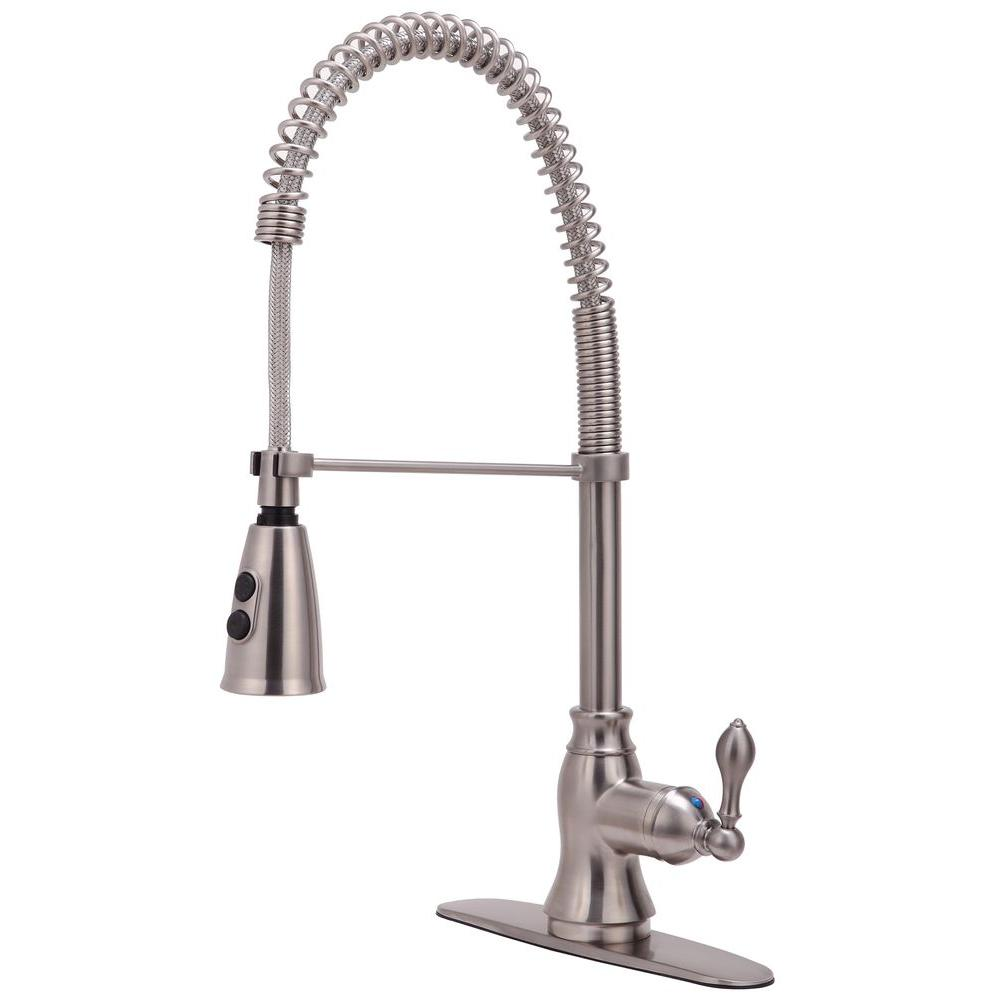 Ultra Faucets Signature Collection Single-Handle Pull-Down Sprayer Kitchen Faucet in Stainless Steel