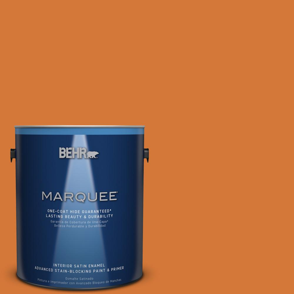 1 gal. #T17-19 Fired Up Satin Enamel Interior Paint and Primer