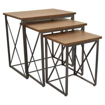 Metal/ Wood Plant Stand Set of 3 in Brown Metal 25in L x 18in W x 25in H