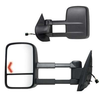 Towing Mirror for 07-14 Escalade/Silverado/Sierra/Tahoe/Yukon 07-13 Avalanche Black Heated Power Turn Signal Pair