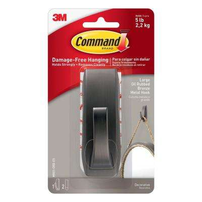 Modern Reflections Large Oil Rubbed Bronze Metal Hook (1-Hook) (2-Adhesive Strips)