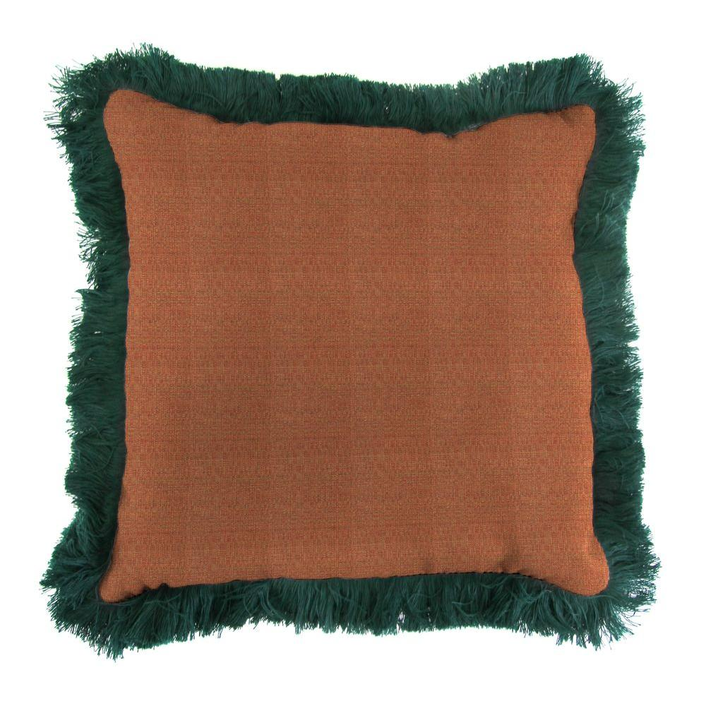 Sunbrella Linen Chili Square Outdoor Throw Pillow with Forest Green Fringe