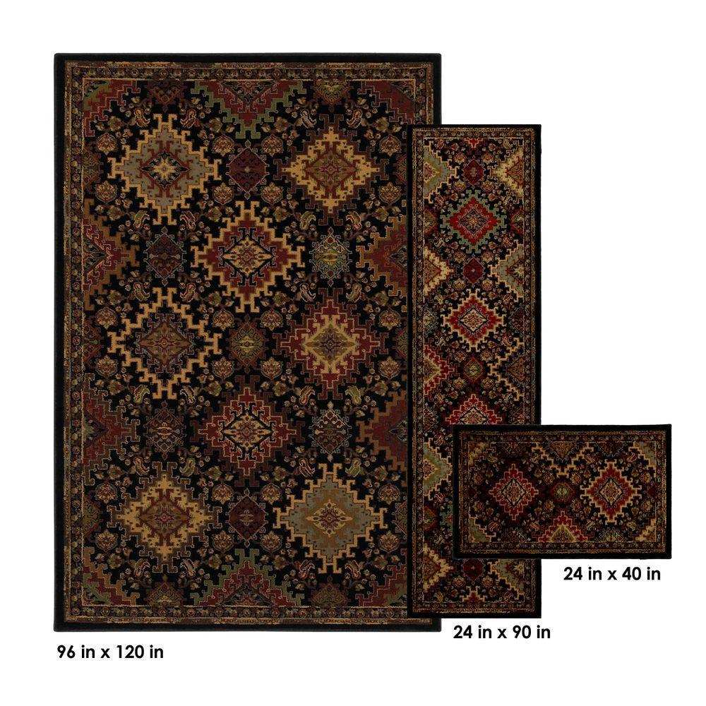 Mohawk Home Ankara Black 8 ft. x 10 ft. 3-Piece Rug Set