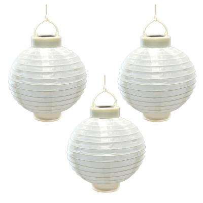 8 in. Solar White Nylon Round Lantern (3-Pack)