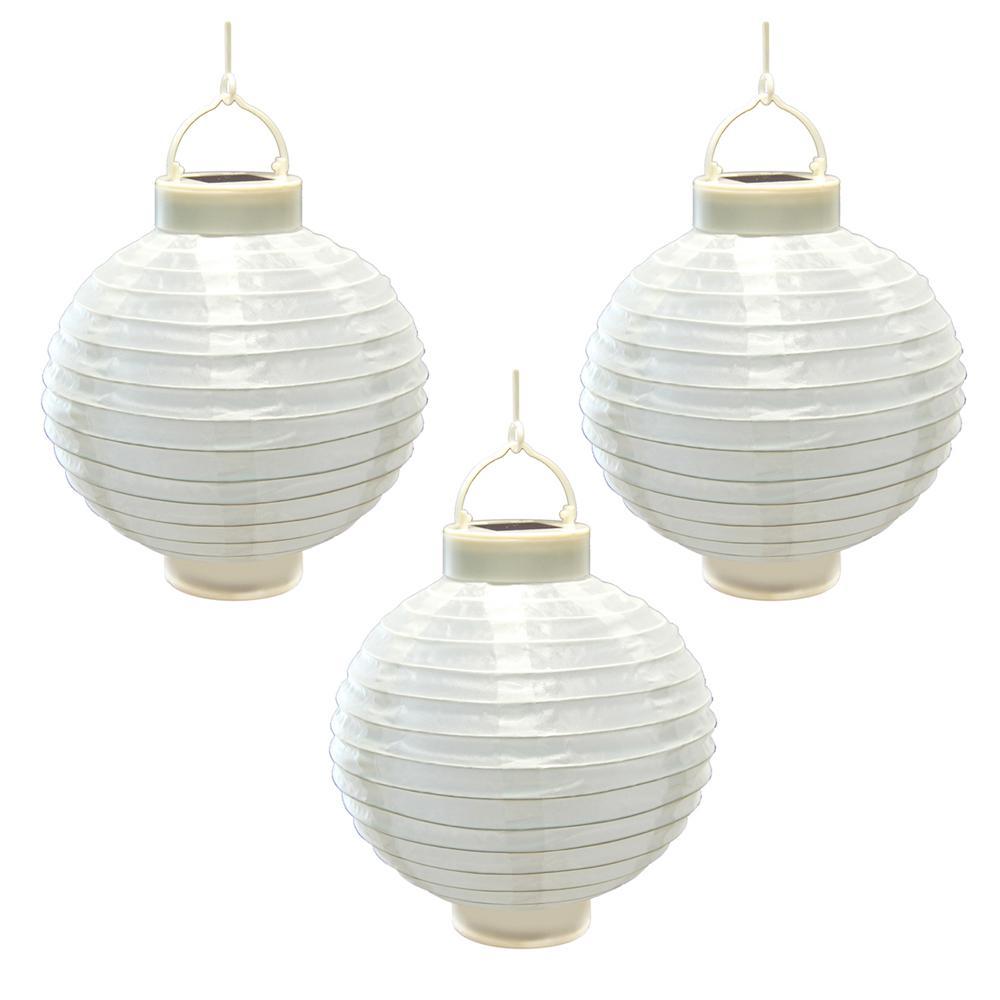 8 in. Solar White Nylon Round Lantern (3-Pack)