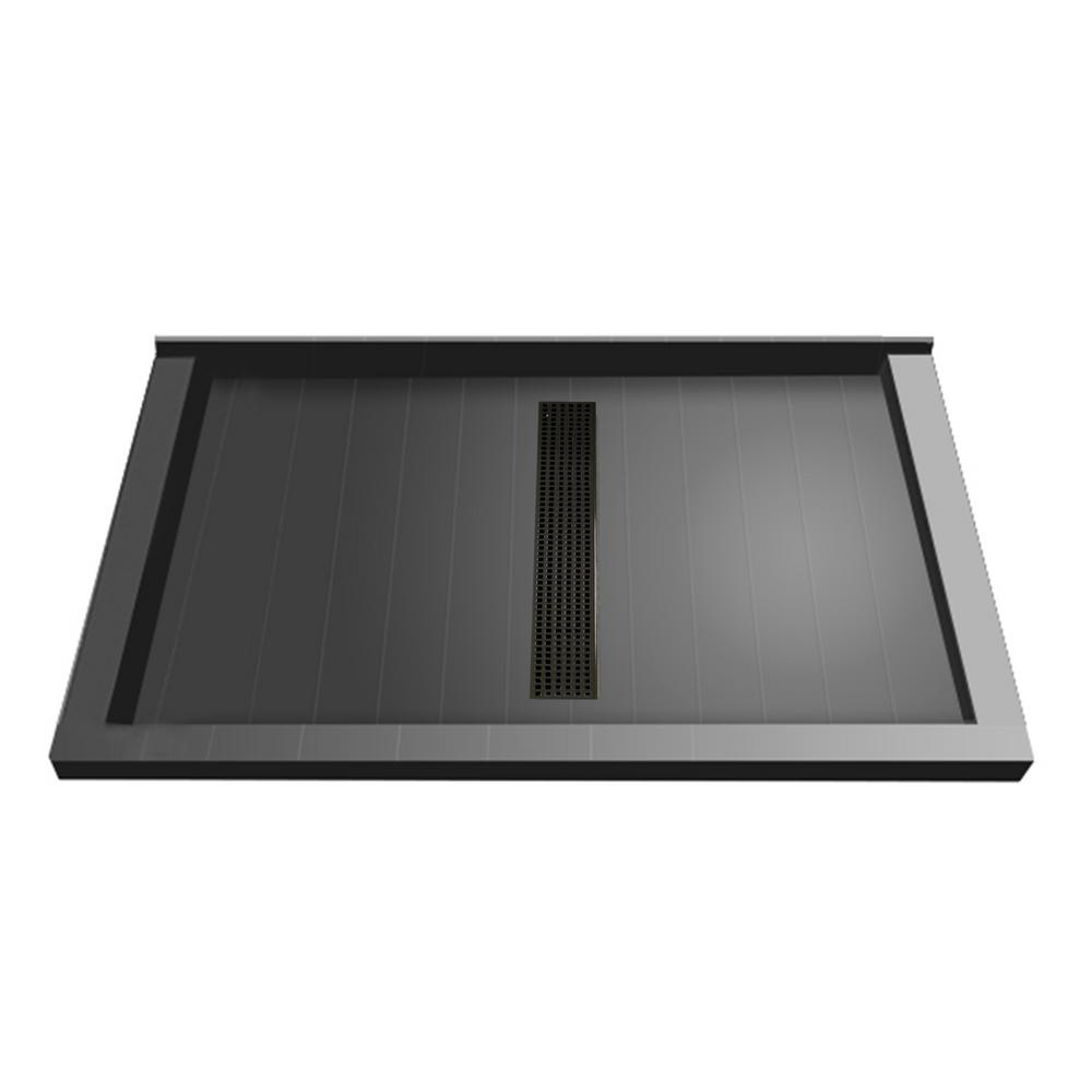 34 in. x 48 in. Triple Threshold Shower Base with Center