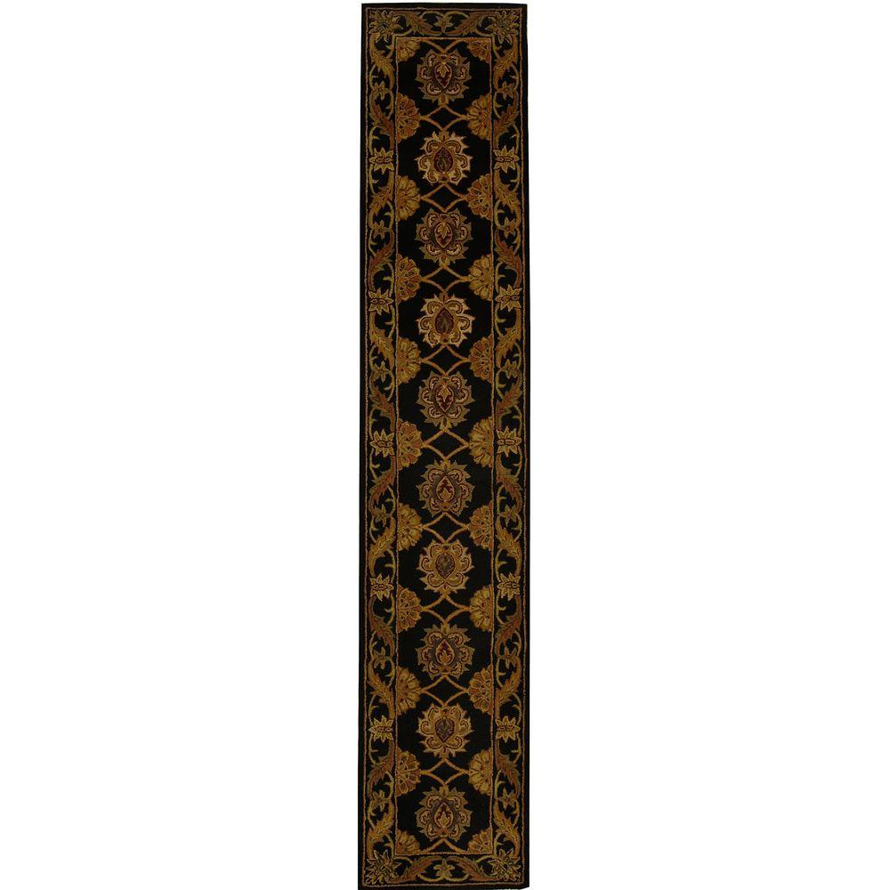 Heritage Black 2 ft. x 14 ft. Runner Rug
