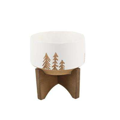 4 in. White Ceramic Christmas Trees Textured Planter on Wood Stand