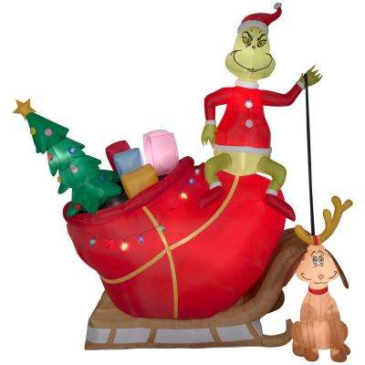 Holiday 12 ft. Pre-Lit Inflatable Grinch and Max in Sleigh Colossal  Airblown Scene - The Grinch - Christmas Inflatables - Outdoor Christmas Decorations