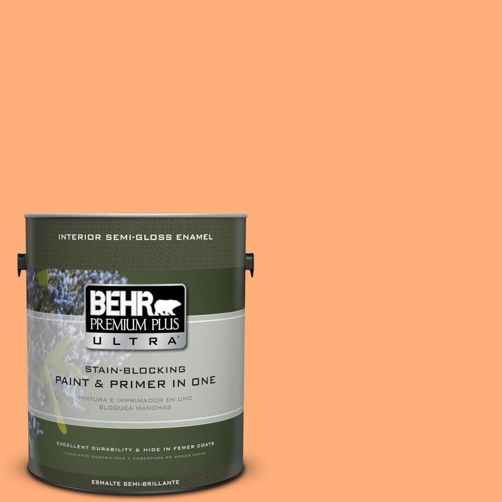 BEHR Premium Plus Ultra 1-gal. #260B-5 Cantaloupe Slice Semi-Gloss Enamel Interior Paint