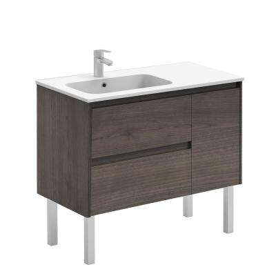 35.6 in. W x 18.1 in. D x 32.9 in. H Bathroom Vanity Unit in Samara Ash with Vanity Top and Basin in White