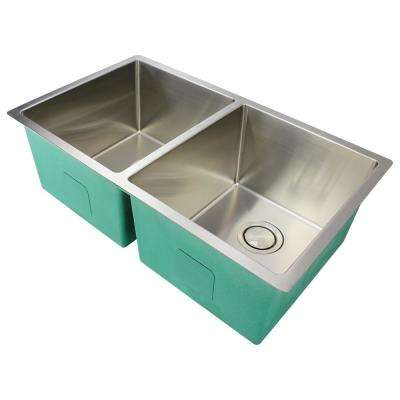 Diamond Undermount Stainless Steel 32 in. Equal Double Bowl Kitchen Sink in Brushed Finish