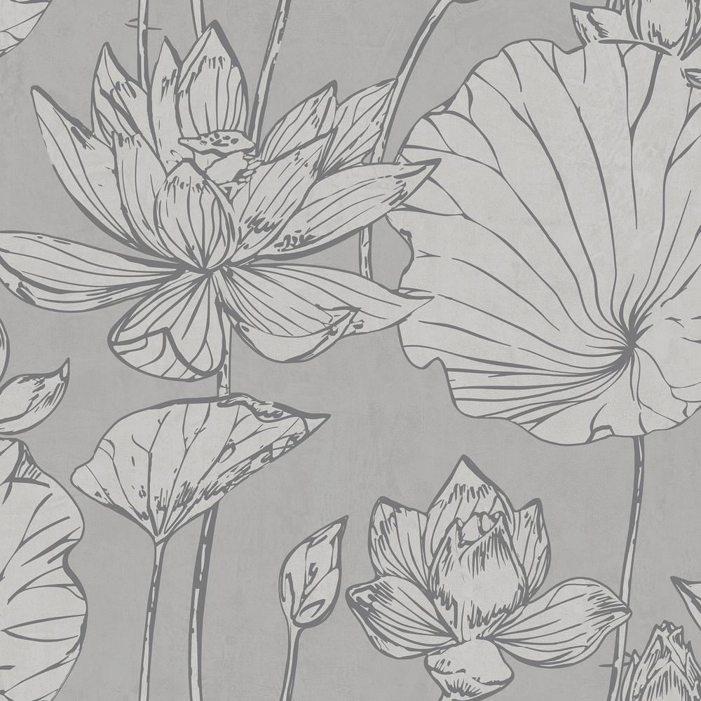 Lotus Metallic Silver And Gray Floral Wallpaper