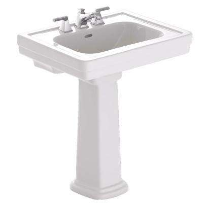 Promenade 28 in. Pedestal Combo Bathroom Sink with 4 in. Faucet Holes in Cotton White