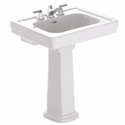 Promenade 28 in. Pedestal Combo Bathroom Sink with 8 in. Faucet Holes in Cotton White