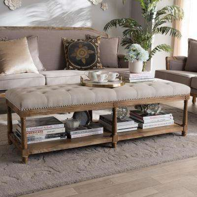 Celeste Beige Fabric Upholstered Bench
