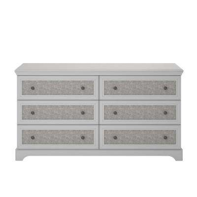Hillside 6-Drawer Gray Dresser with Fabric Inserts